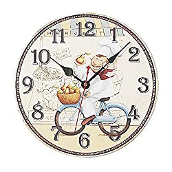 Swonda Decorative Silent Printed Wood Clock for Home Décor (14 inch, Chef)