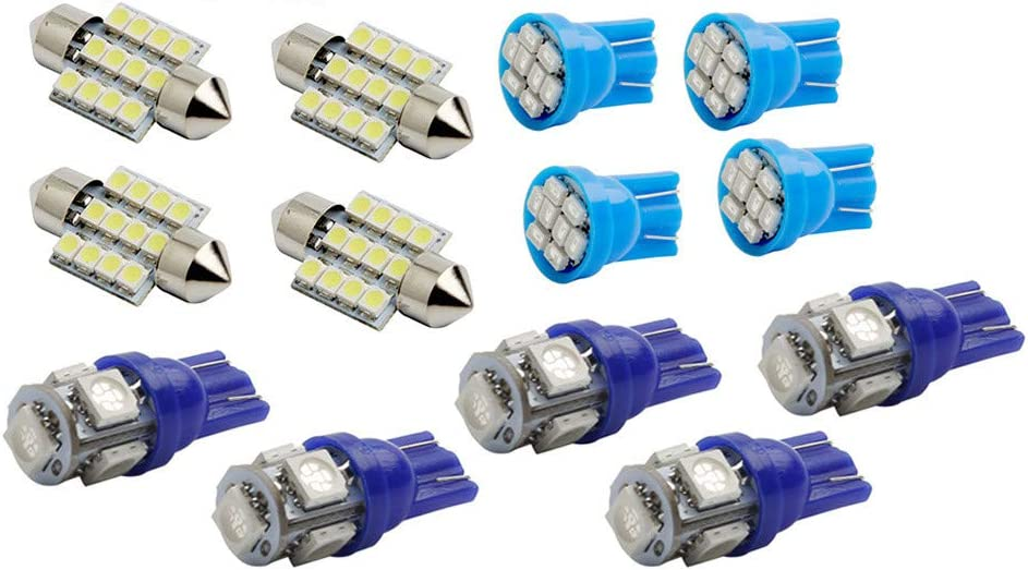 Blue Car LED Lights,Quaanti 13Pc LED Lights Interior Package Kit Pure Blue for Dome License Plate Lamp Bulb