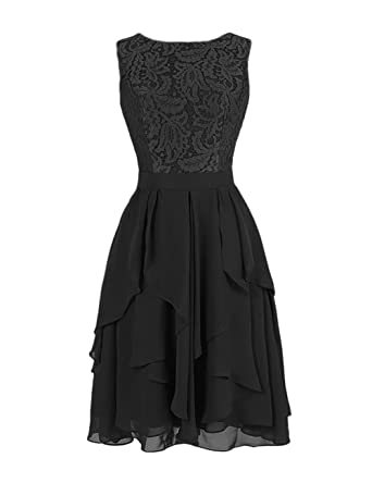 Dresstells Short Chiffon Crew Neck Evening Party Formal Prom Dress Lace Flowers Maxi Dress Black Size