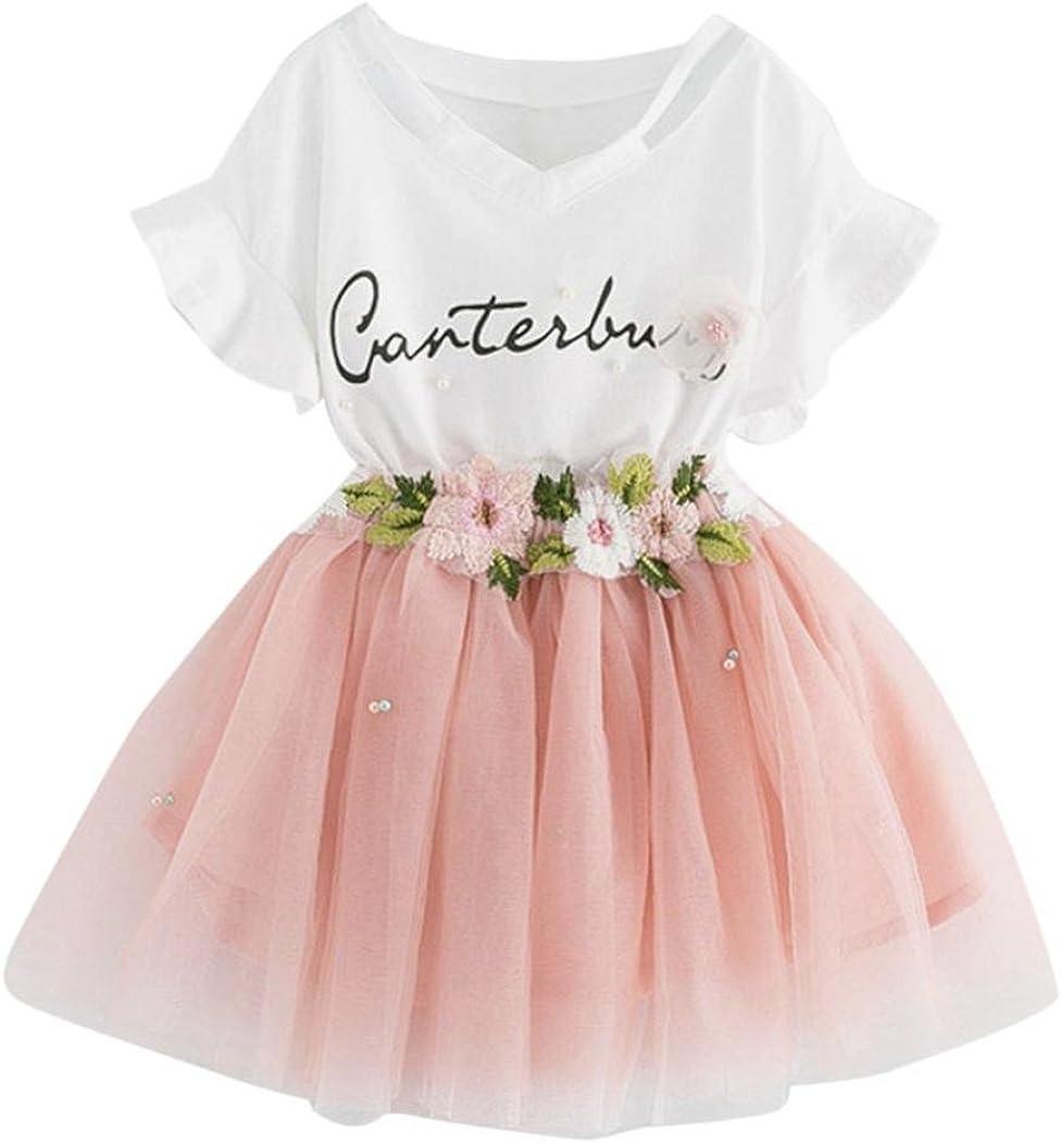 K-youth Vestido de niña Vestido Niña Floral Tutú Princesa Vestidos Vestido para Bebés Ropa niña Camisa y Vestido Muchacha Encantadora Ropa Bebe niña Verano 2018