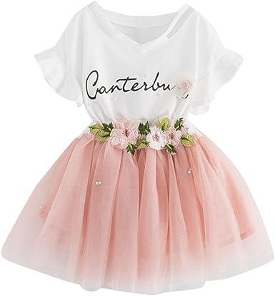 K-youth Vestido de niña Vestido Niña Floral Tutú Princesa Vestidos Vestido para Bebés Ropa niña Camisa y Vestido Muchacha Encantadora Ropa Bebe niña Verano 2018: Amazon.es: Ropa y accesorios