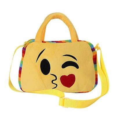 Kids Emoji Face Plush Backpack Purse Girl Boy School Shoulder Bag Crossbody Handbag