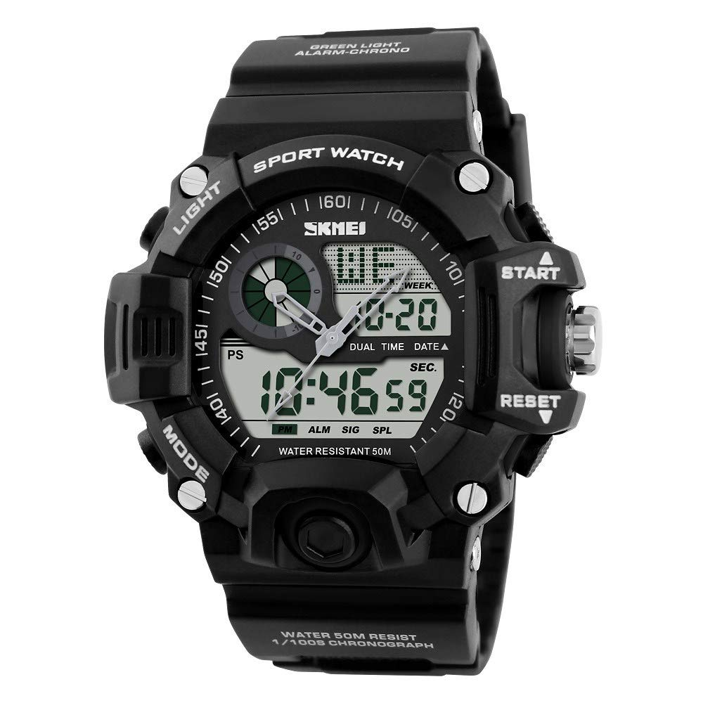 Amazon.com: Skmei S-SHOCK Multi Function Military Watch Men Analog Digital Led Display Sport Wristwatch White: Watches