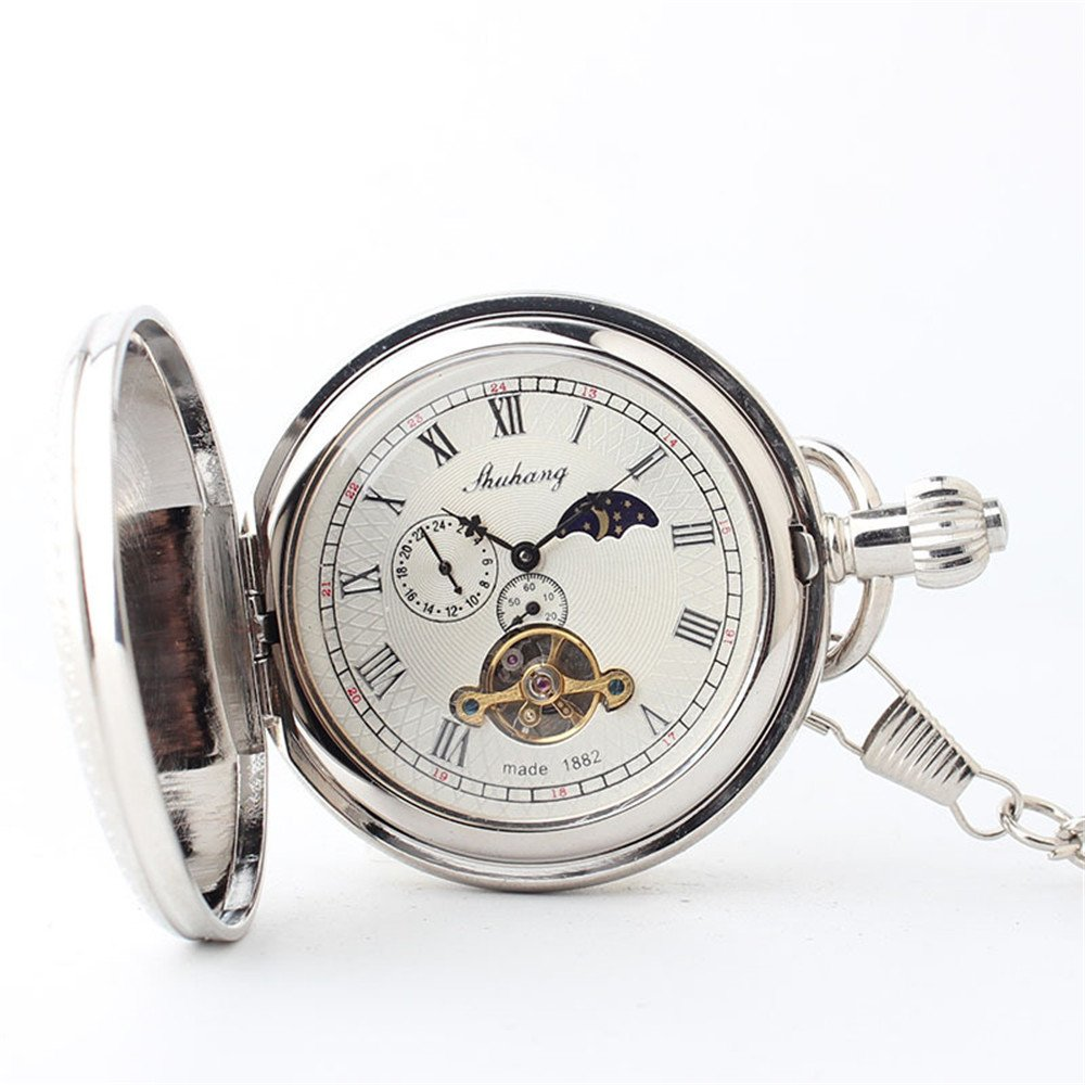 Zxcvlina Classic Smooth Exquisite Silvery Retro Mechanical Pocket Watch Copper Carved Unisex Pocket Watch with Chain for Gift Suitable for Gift Giving by Zxcvlina (Image #5)
