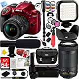 Nikon D3400 24.2MP DX DSLR Camera (Red) with AF-P 18-55mm f/3.5-5.6G VR Lens And 70-300mm f/4.5-6.3G Dual Zoom Lens And Pro Shotgun Microphone Plus 64GB Battery Grip Bundle