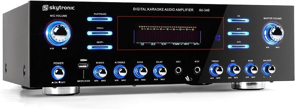 Skytronic AV-340 Amplificador Karaoke 5 Canales USB MP3 ...