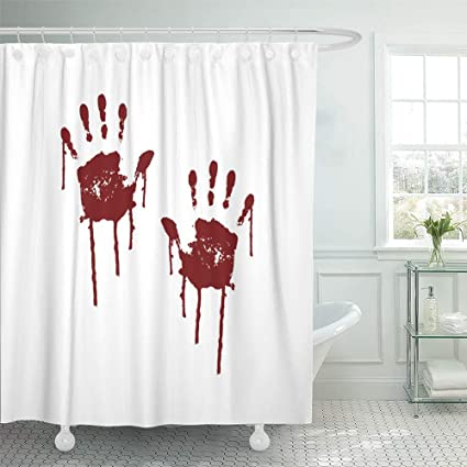 Emvency Shower Curtain Waterproof Adjustable Polyester Fabric Red Blood Bloody Scary Hands Handprint Abstract Creepy Crime