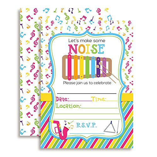 Let's Make Some Noise Musical Xylophone Themed Birthday Party Invitations, 20 5