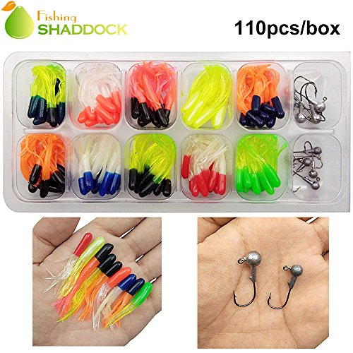 110 Piece 10 Mixed Colors Fishing Lures Crappie Tube Jigs Kit