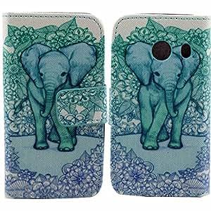 Beiuns Funda de piel para Samsung Galaxy Ace Style (pantalla: 4 pulgadas) Carcasa - N122 flores retro exóticas y elefante