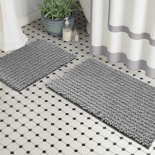 Zebrux Non Slip Thick Shaggy Modern Designed Chenille Bathroom Rugs, Bath Mats for Bathroom Extra Soft and Absorbent…