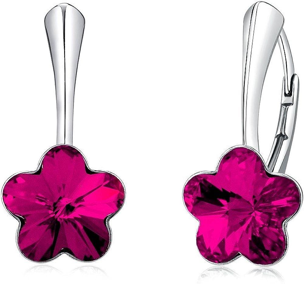 SILVEGO Pendientes Swarovski® Cristal flor plata de ley 925