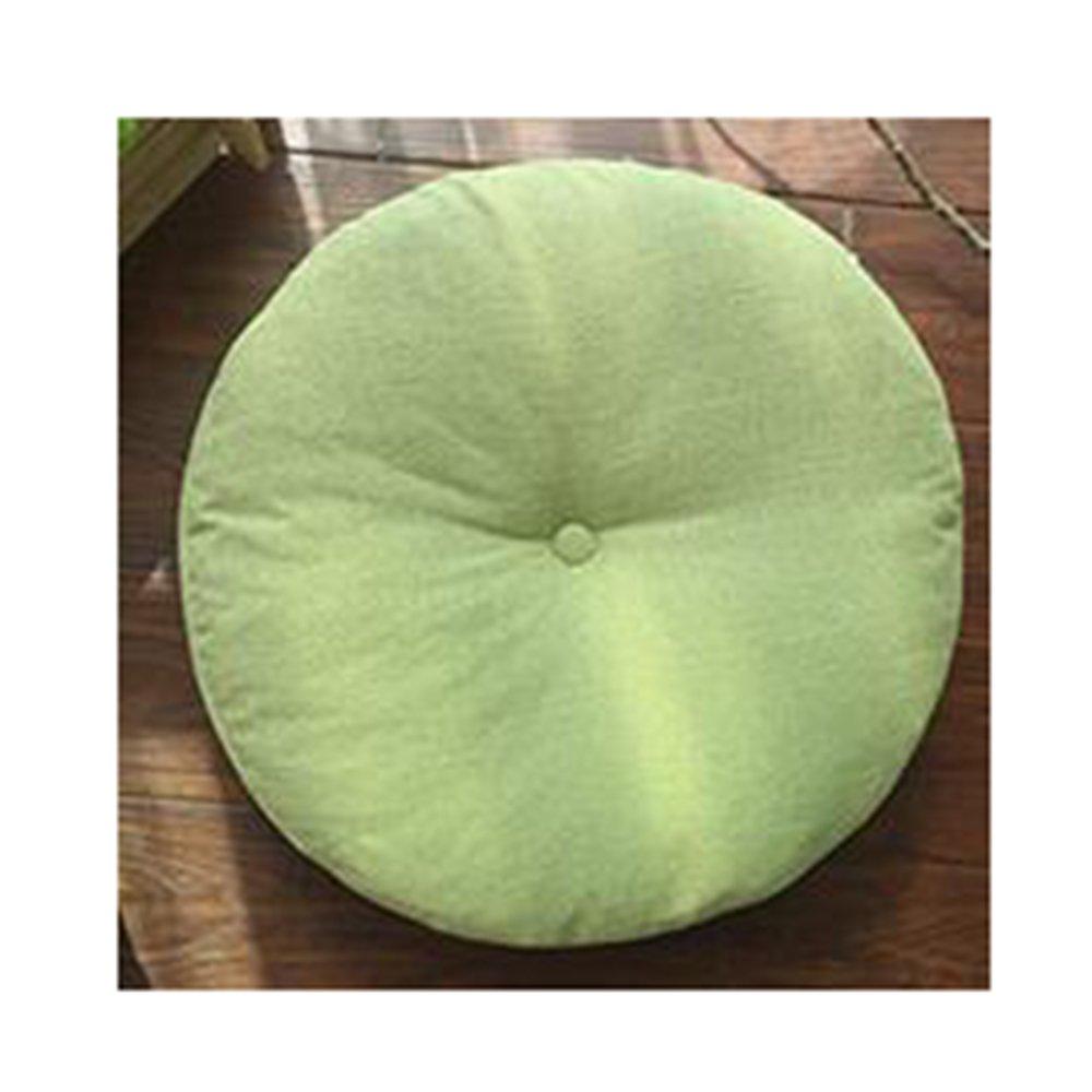 LuckySHD Linen Floor Pillow Cushion Round Chair Pad Window Pad,15.7'' x 15.7''(Light green)