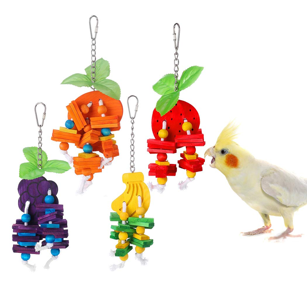 KINTOR 4pcs Bird Toys Parrot Chewing Cage Toy for Small Parrots Parakeets Cockatiels Conures Budgie Canary Love Birds Finches by KINTOR