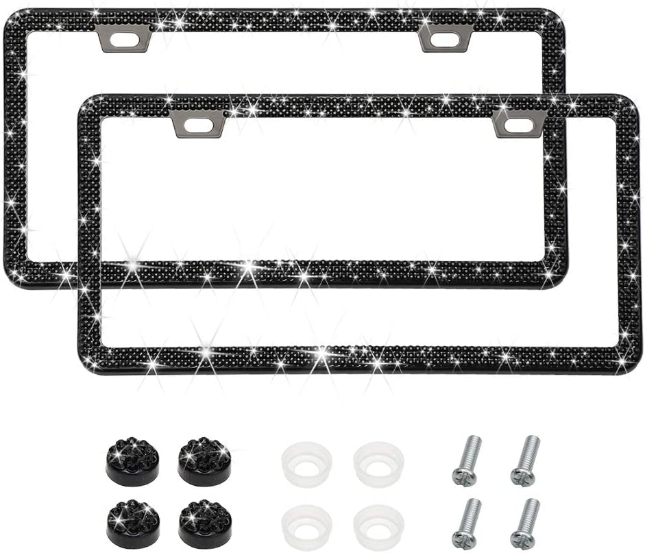 2 Pack Otostar Handmade Finest 14 Facets SS20 Crystal Diamond Stainless Steel License Plate Frame Silver 3 Rows 2 Holes