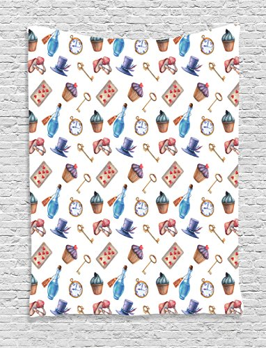 Ambesonne Alice in Wonderland Decorations Collection, Cupcakes Mushrooms Bottles Hanging in Sky Alice Magic Dessert Fairy Tale, Bedroom Living Room Dorm Wall Hanging Tapestry, Multi