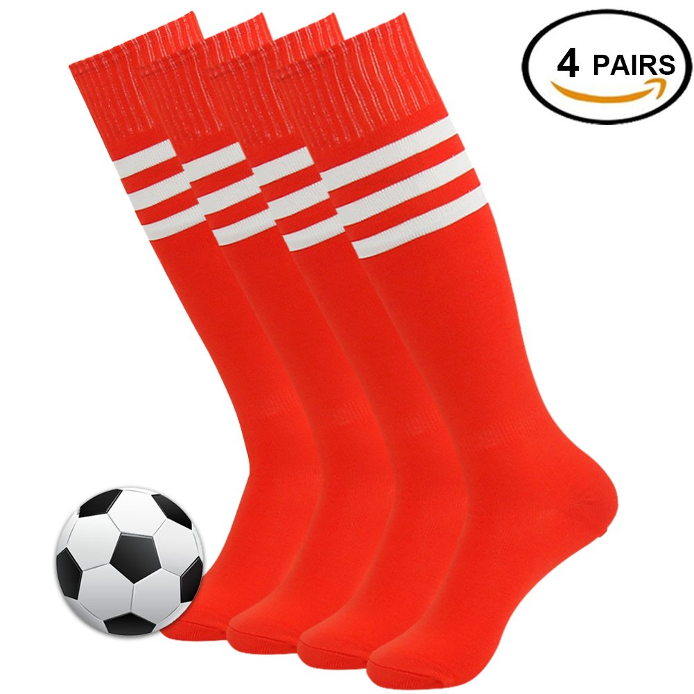 3streetユニセックスニーハイ/ Over Calfトリプルストライプアスレチックチューブソックス3 – 12ペア B0784BZ4LF 02#4 Pairs Red+White Stripe 02#4 Pairs Red+White Stripe