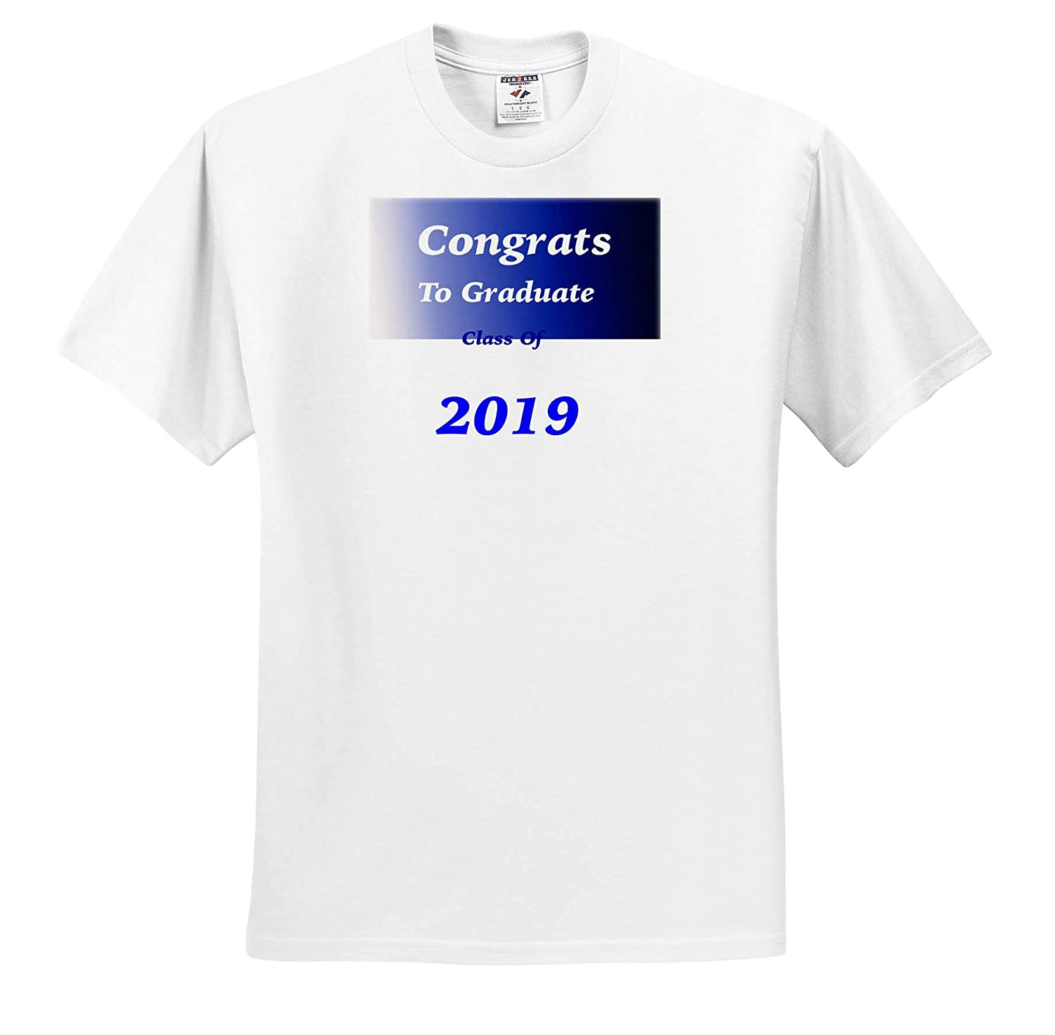3dRose Lens Art by Florene Graduation T-Shirts Image of Congrats to Class 2019 On Blue White Gradient