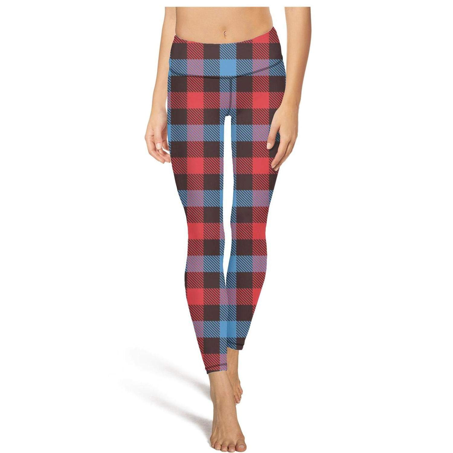 ccceaae6d7a4c Blue Red Checkerboard British Plaid Leggins Workout Outfits for Women at  Amazon Women's Clothing store: