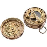 Latón bolsillo de reloj de sol brújula–Reloj solar