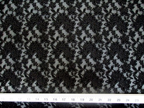 Swatch Sample Discount Fabric Stretch Lace Heavily Embroidered Elegant Black Floral LC102