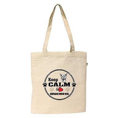 331546c0ae Amazon.com  Hemp Simple Market Tote Bag Keep Calm Love Korean Jindo Dogdog  Style In Print  Clothing