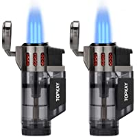 Torch Lighter, Cigar Lighter, Triple Jet Flame Torch Lighters, Windproof Butane Refillable Gas Torch Lighters with a…