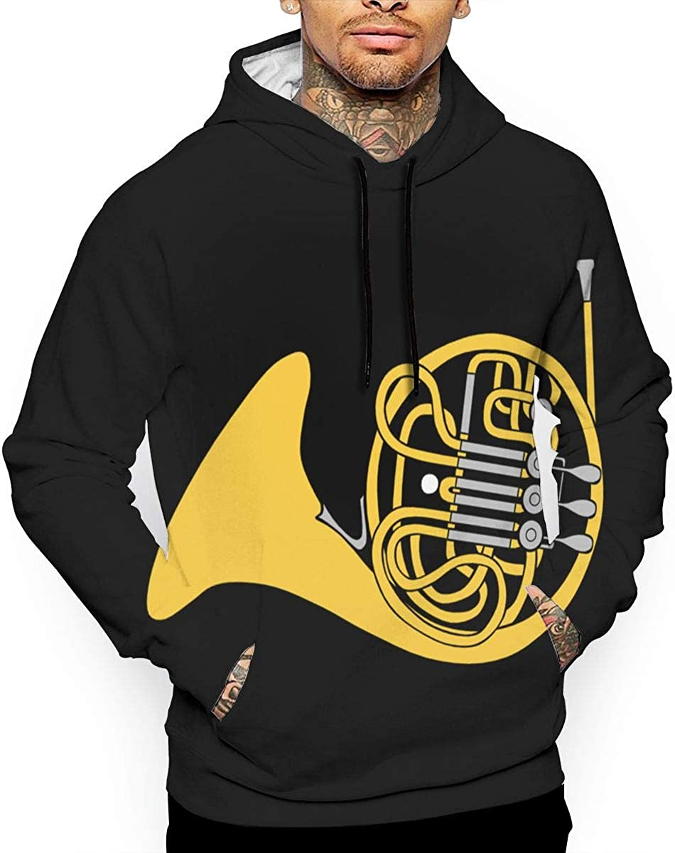 Jinyimingpi Mens Hoodies French Horn Full Print Sweatshirt Pullover Jackets Hooded