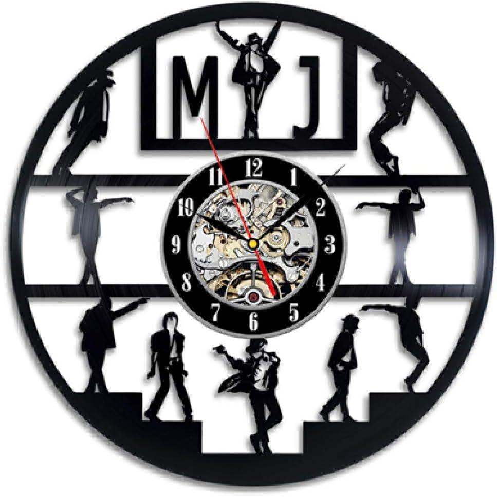 SSCLOCK Reloj de Pared de Disco de Vinilo Diseño Moderno Tema de música Pop King Relojes Reloj de Pared Decoración para el hogar Regalo para Hombre