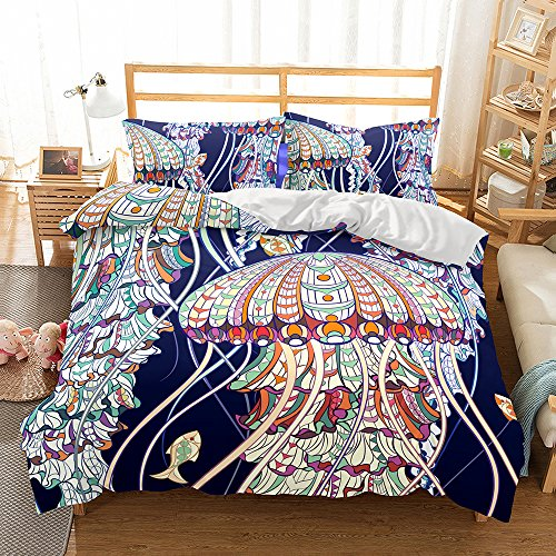 Damara Coloured Jellyfish 3D Bedding Set Print Duvet Cover Set Lifelike Bed Sheet #06 (4, Queen)