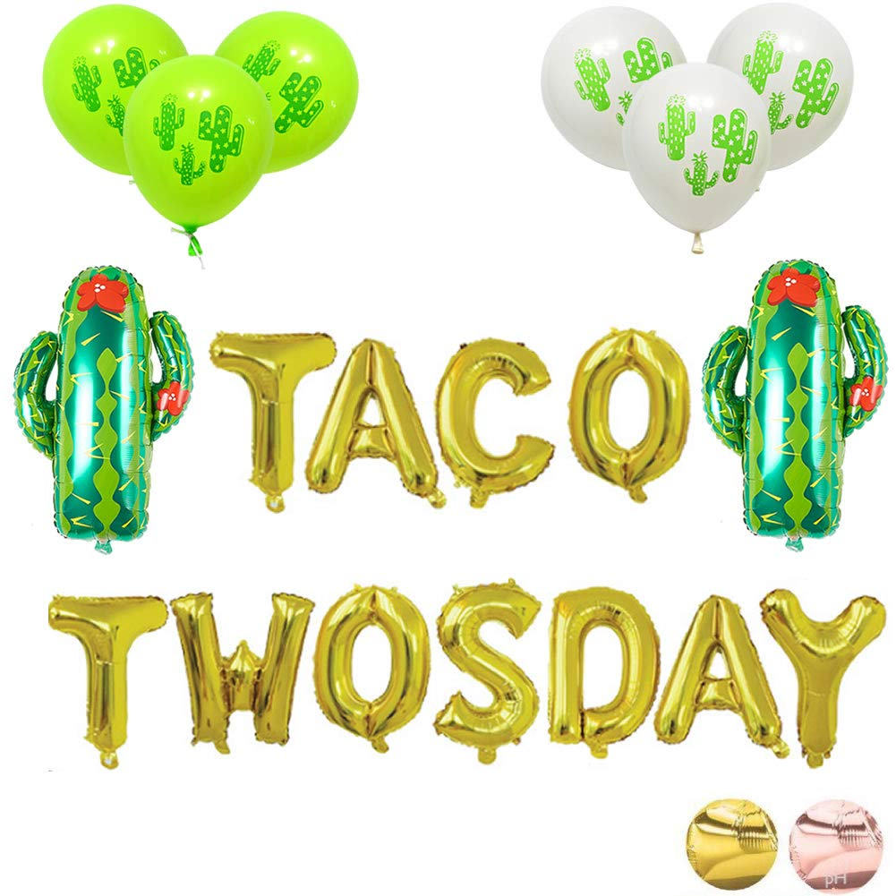 16'' Gold Foil Balloons Taco Twosday Fiesta 2nd Birthday Balloon Mexican Decor Party Decorations Supplies by JW Passion