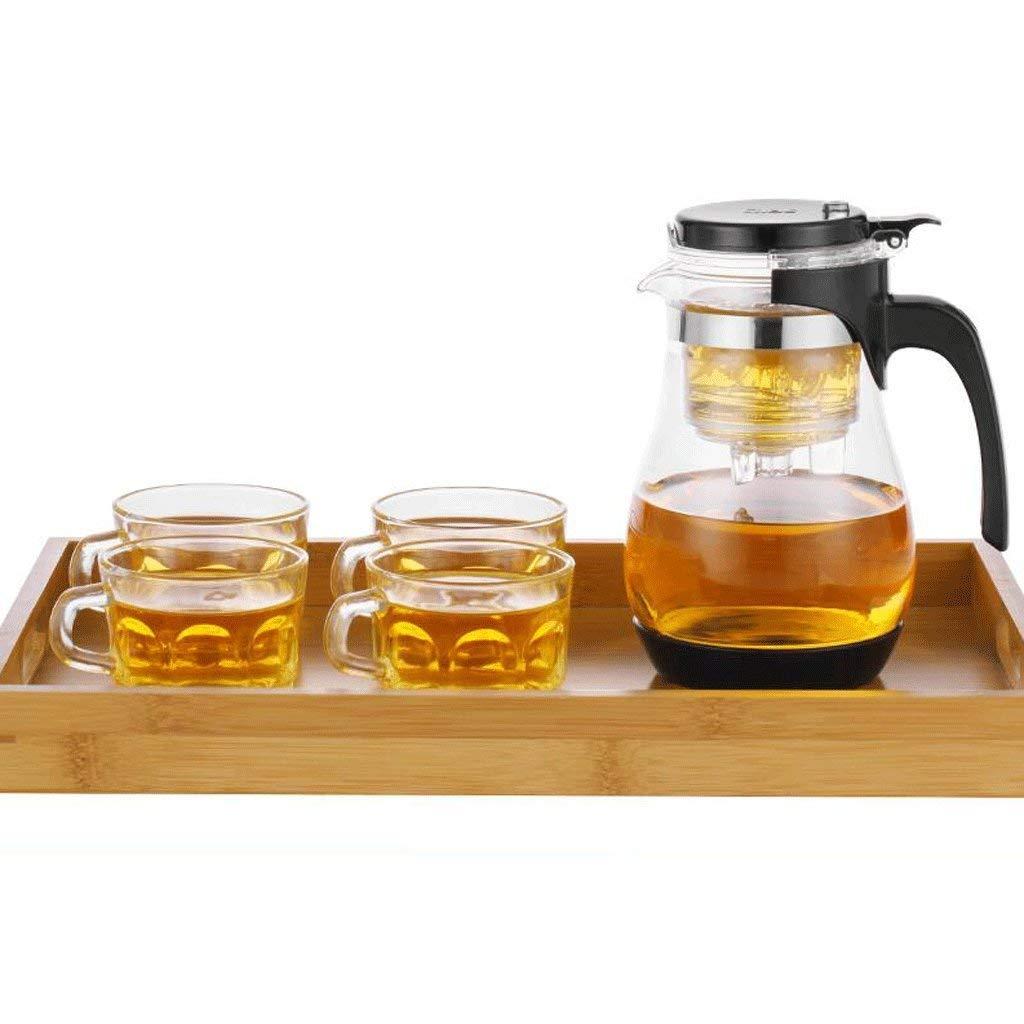 Carl Artbay High Temperature Resistance ZS Heat Resistant Glass Elegant Cup Removable Teapot Filter Household Teapot (teapot + 4 Cups + Tea Tray) (Color : B) (Color : A)