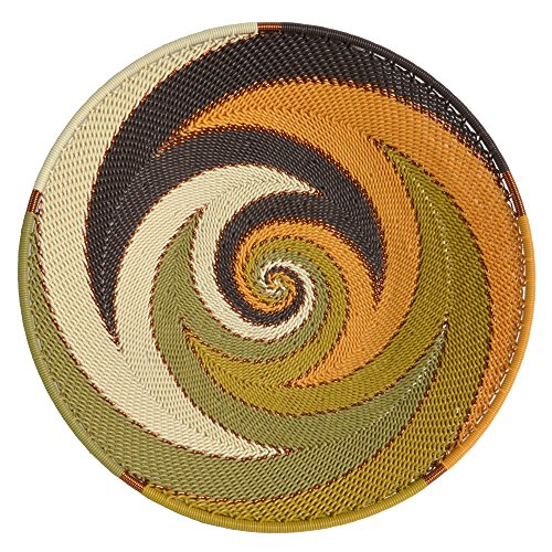 - Bridge for Africa Fair Trade Zulu Telephone Wire 8-inch Platter Basket, African Earth