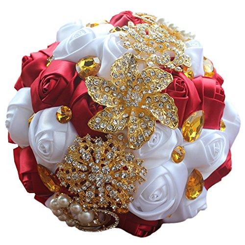 USIX Handcraft Crystal Satin Rose Brooch Bridal Holding Wedding Bouquet Brooch Bouquet, Lace Decorated Bouquet, Wedding Flower Arrangements Bridesmaid Bouquet(Red)