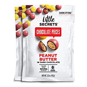 Little Secrets Chocolate Pieces, Peanut Butter Flavor, All Natural, Fair Trade Certified, Gourmet Dark Chocolate Candy, No Artificial Dyes, Healthy Snacks and Treats, (2 Pack)