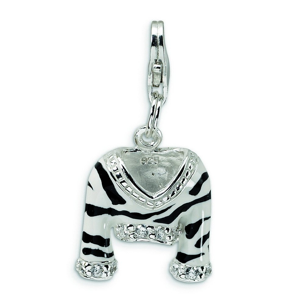 Sterling Silver Rhodium-plated Fancy Lobster Closure CZ Polished Enamel Zebra Jacket With Lobster Clasp Charm - Measures 28x15mm