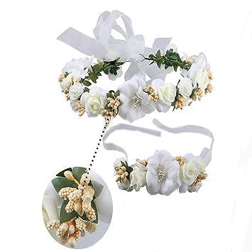 Amazon floral wreath hair bridal flower garland headband and floral wreath hair bridal flower garland headband and wristband flower crown hair wreath halo adjustable ribbon mightylinksfo