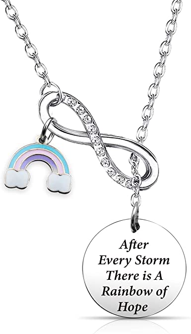 Miscarriage Silver Rainbow Necklace Child Loss Rainbow Pendant Baby Loss Awareness Necklace Rainbow baby Jewellery Infant Loss Gift