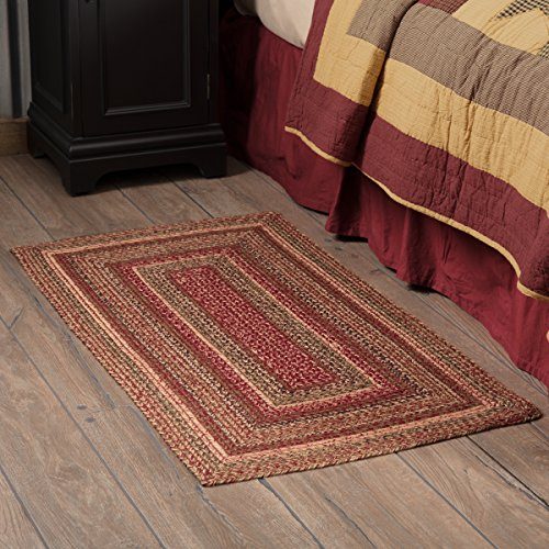 VHC Brands 45599 Burgundy Red Primitive Country Flooring Cider Mill Jute Rug, 27x48 ()