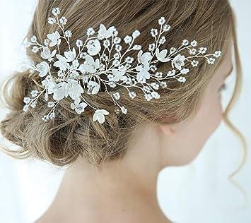 wedding Hair comb white flowers headpiece Pearl bridal comb 13 Silver hair piece with white flowers crystal pearls Hair Comb