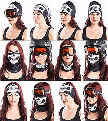 Skullface Set of 2 - Skull & Black Seamless Neck Warmer Face Tube Mask