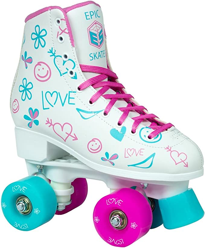 Childrens Pink /& Yellow Epic Splash High-Top Indoor//Outdoor Quad Roller Skates w//2 pr of Laces