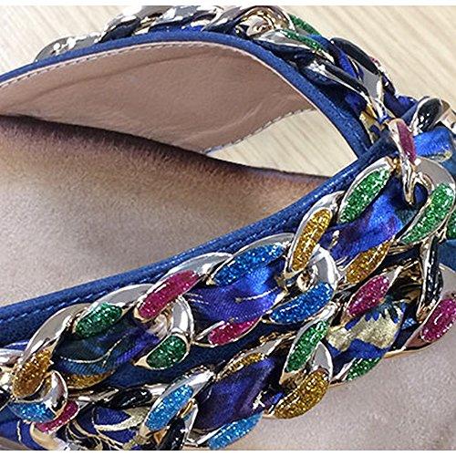 Boulevard - Sandalias zueco con decoración de bisutería para mujer Azul