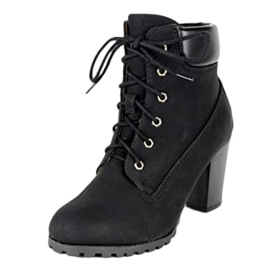 b79db483177 Womens Rugged Lace Up Stacked High Heel Ankle Boots: Amazon.ca: Shoes &  Handbags