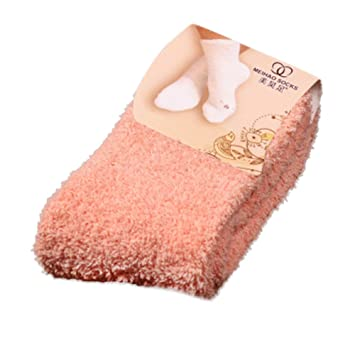 Home Women Girls Soft Bed Floor Socks Fluffy Warm Winter Pure Color Soft Socking
