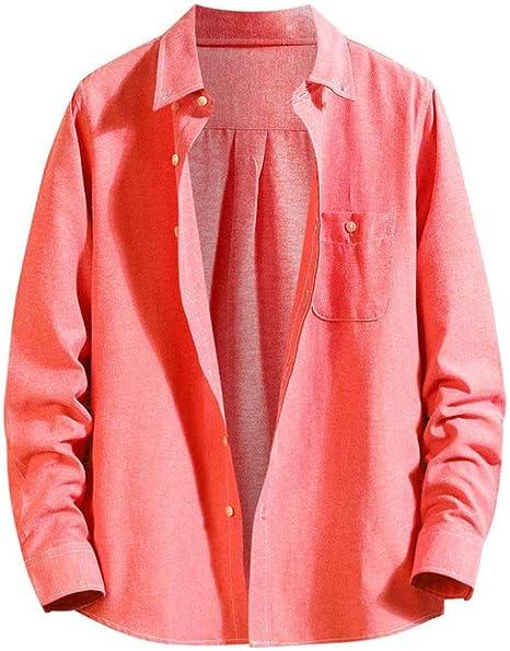Wodechenshan Camisas Casual para Hombre,Mens Harajuku Camiseta Roja Ropa Moda Confort Informal Camisa Manga Larga Tops Blusa Casual Ropa Suelta: Amazon.es: Deportes y aire libre