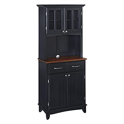 Amazon Small Wood Bakers Rack With Two Door Hutch Black