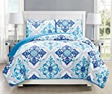 GrandLinen 3-Piece Fine printed Quilt Set Reversible Bedspread Coverlet (Double) FULL SIZE Bed Cover (Turquoise, Blue, White, Grey, Navy)