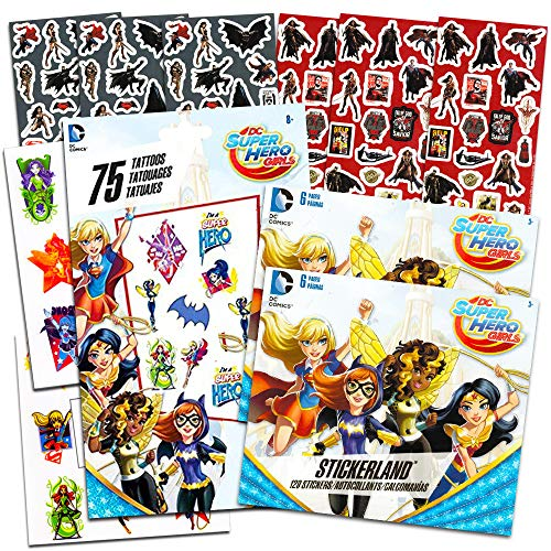 DC Super Hero Girls Stickers and Tattoos Party Favors Bundle -- Over 240 Super Hero Girls Stickers, 75 Temporary Tattoos and 300 Bonus DC Comics Stickers (Party Supplies) (Harley Quinn Party Favors)