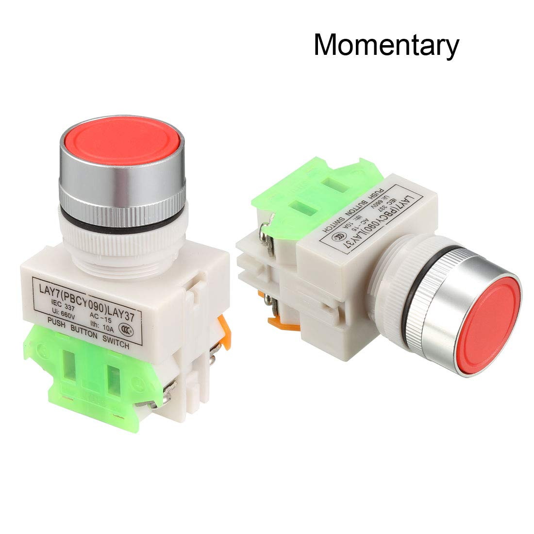 uxcell 23mm Mounting Hole Green Sign Emergency Stop Push Button Switch 1pcs